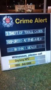 Panneau Crime Alert - Geylang